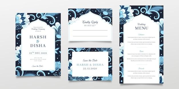 Concepto de papelería de boda india
