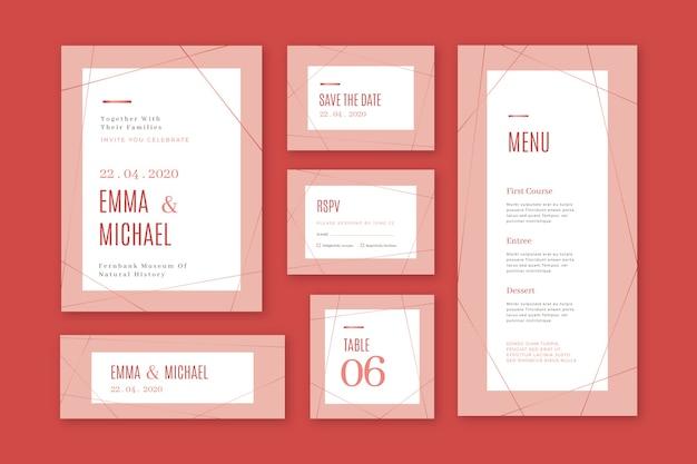 Concepto de papelería de boda