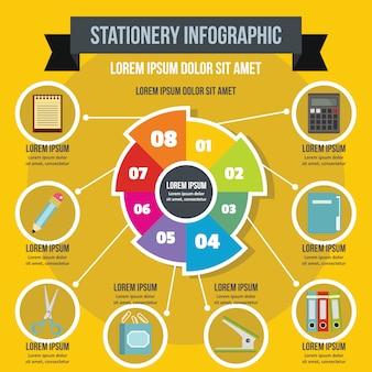 Concepto de papelería infografía, estilo plano