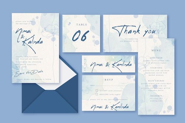 Concepto de papelería de invitación de boda