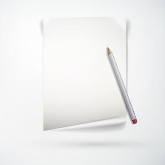 Concepto de papelería de oficina realista con hoja de papel en blanco y lápiz de madera en luz aislada