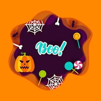 Concepto de papercut de halloween boo. ilustración de vector. truco o trato.