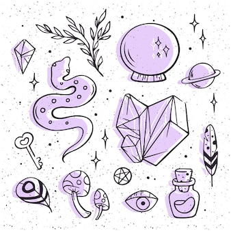 Concepto de paquete de elementos esotéricos