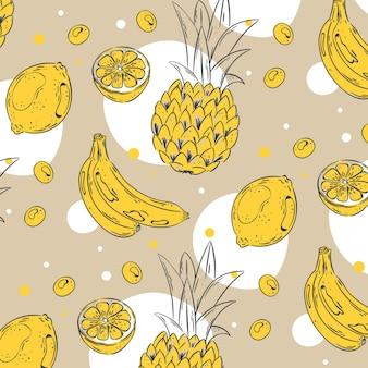 Concepto de paquete de patrones de frutas