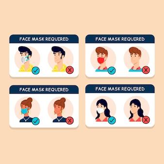 Concepto de paquete de signos de máscara facial requerida