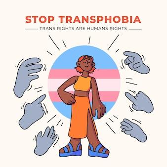 Concepto de parada transfobia dibujado a mano