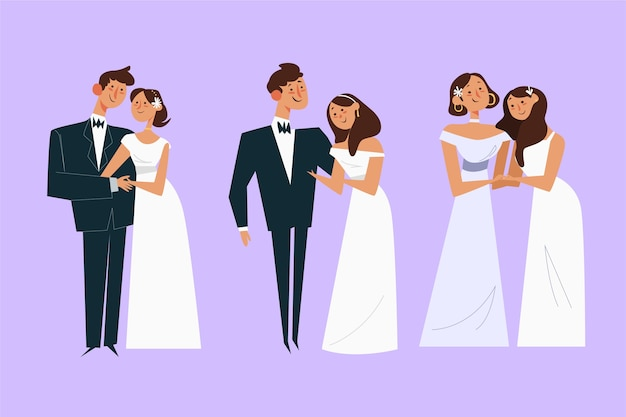 Concepto de pareja de boda de diseño plano