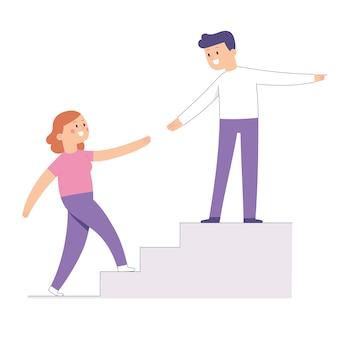 Concepto de pareja masculina y femenina que se ayudan mutuamente a subir la escalera hacia la meta