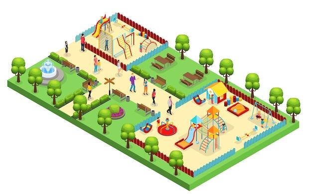 Concepto de parque de atracciones isométrico con padres e hijos que visitan el patio de recreo con diferentes toboganes y columpios aislados