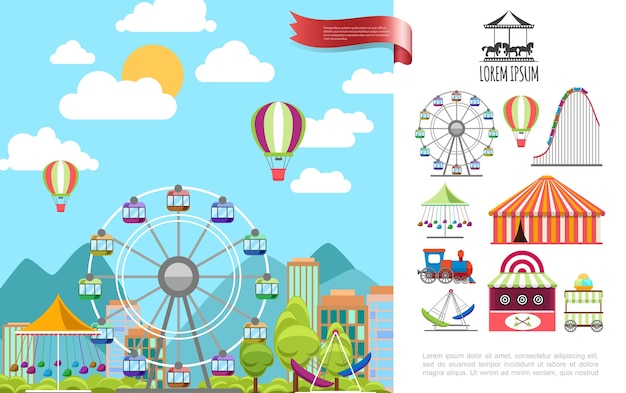 Concepto de parque de atracciones plano