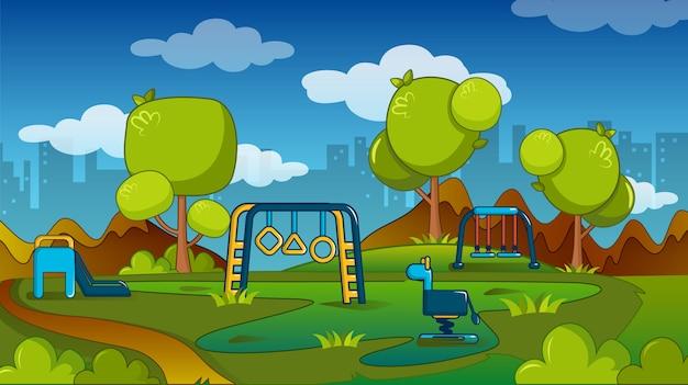 Concepto de parque infantil, estilo de dibujos animados