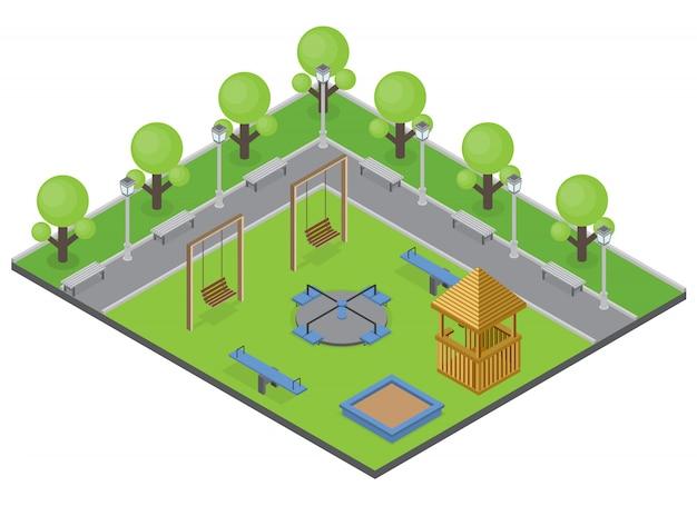 Concepto de parque suburbia con bancos de árboles y parque infantil isométrica