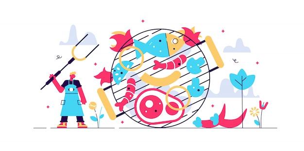 Concepto de parrilla de barbacoa, pequeño chef persona ilustración. filete, salchichas y camarones de mariscos. barbacoa jardín fiesta cultura o restaurante menú alimentos. habilidades culinarias y conocimiento nutricional.