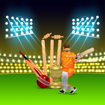 Concepto de partido de cricket con estadio