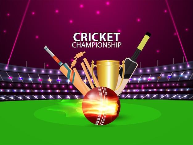 Concepto de partido de torneo de cricket con estadio y equipo de cricket