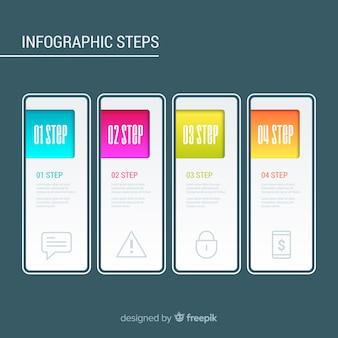 Concepto de pasos infográficos con colores gradientes