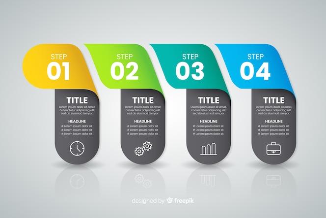 Concepto de pasos infográficos coloridos