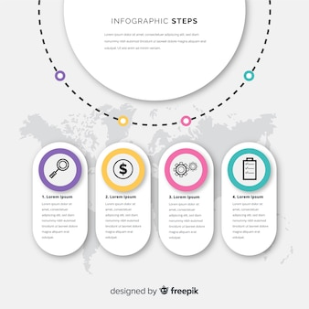 Concepto de pasos infográficos en estilo flat