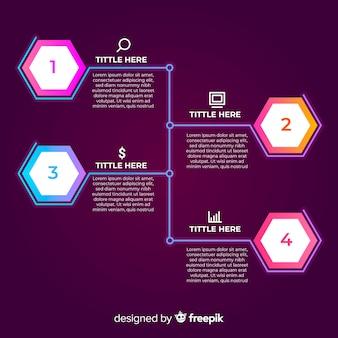 Concepto de pasos infográficos gradientes
