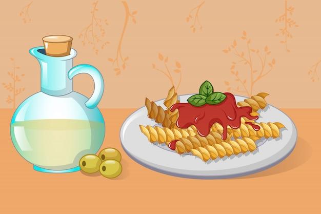 Concepto de pasta y aceite de oliva, estilo de dibujos animados