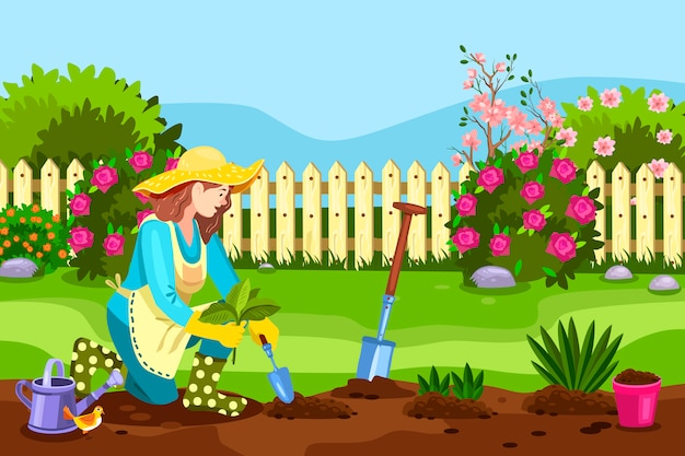 Concepto de patio trasero de primavera con hembra joven, valla, arbustos en flor, rosas, pala, pájaro, regadera