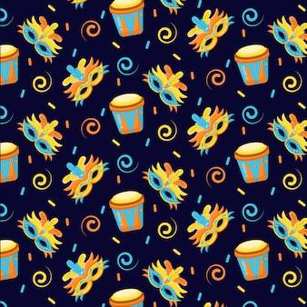 Concepto de patrón de carnaval brasileño de diseño plano