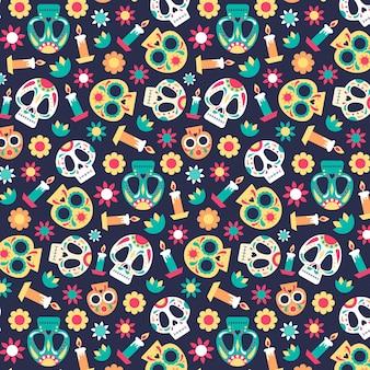 Concepto de patrón del día de los muertos