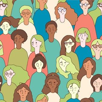 Concepto para el patrón del día de la mujer con caras de mujeres