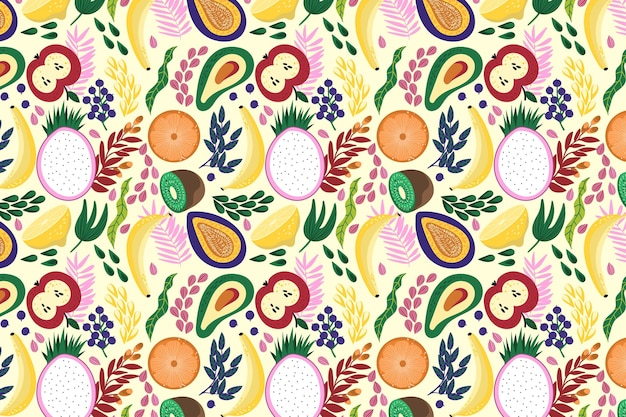 Concepto de patrón de frutas vector gratuito