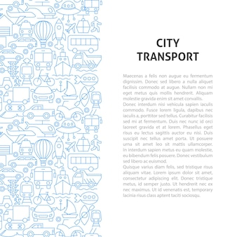 Concepto de patrón de línea de transporte de la ciudad. ilustración de vector de diseño de esquema.
