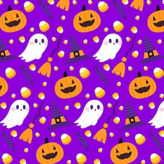 Concepto de patrones de halloween plana