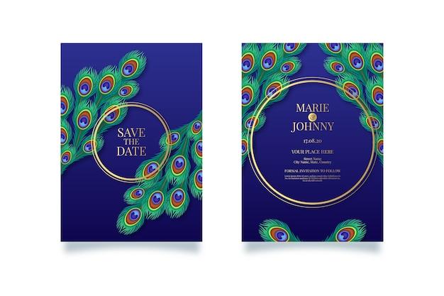 Concepto de pavo real para invitación de boda