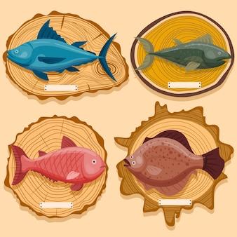 Concepto de peces de mar en el tablero de exhibición de madera, delicioso pez de mar