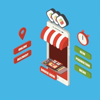 Concepto de pedido y entrega de comida rápida en línea, teléfono inteligente isométrico gigante con comida japonesa, set de sushi bento, palillos y wasabi en bandeja, tienda, mostrador, gran cartel, cronómetro y botones