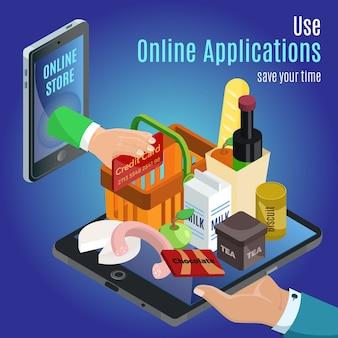 Concepto de pedido en línea isométrico con mano sosteniendo diferentes productos en tableta y pago con tarjeta de crédito