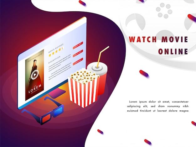 Concepto de película en línea con configuración isomérica