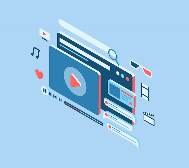 Concepto de película en línea con varios íconos y estilo isométrico