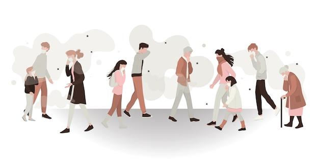 Concepto de peligro de contaminación del aire y medio ambiente sucio. personas con máscara y que respiran humo tóxico. ecología en idea de peligro. ilustración