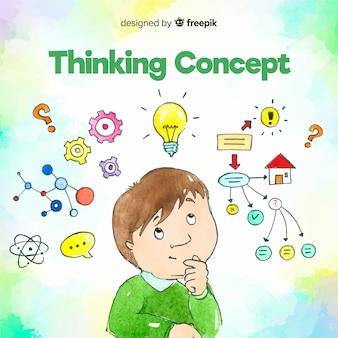 Concepto de pensar dibujado a mano