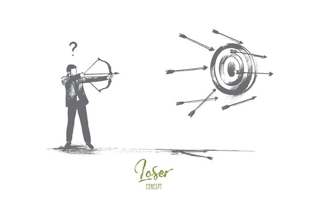 Concepto de perdedor. fracaso dibujado a mano en los negocios. intento desafortunado de dar en el blanco ilustración aislada.