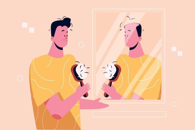 Concepto de pérdida de cabello dibujado a mano