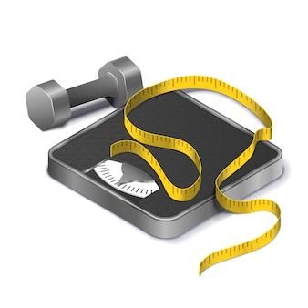 Concepto de pérdida de peso físico con cinta métrica en la báscula y mancuernas de metal realista isométrica