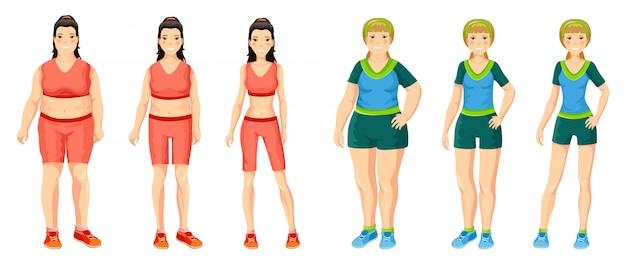 Concepto de pérdida de peso de mujeres de dibujos animados