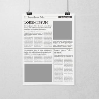 Concepto de periódico colgante