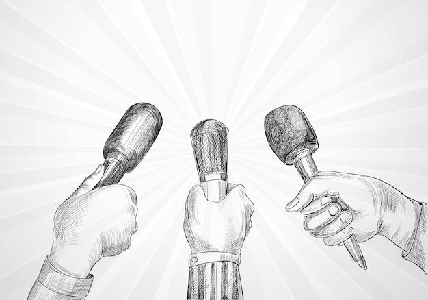 Concepto de periodismo y conferencias muchas manos de reporteros sostienen el diseño de bocetos de micrófonos