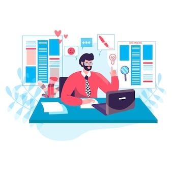 Concepto de periodismo. el editor trabaja en la oficina editorial de los medios o periódicos en línea y selecciona artículos de la escena del personaje de los periodistas. ilustración de vector de diseño plano con actividades de personas