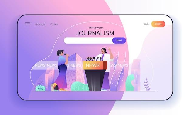 Concepto de periodismo para la página de destino, el periodista comenta o entrevista al anfitrión de noticias en la televisión
