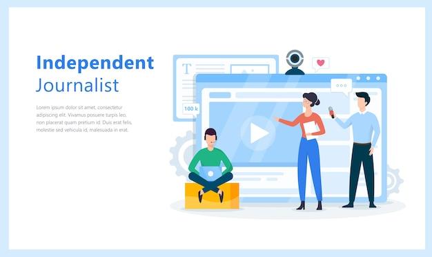 Concepto de periodista independiente. idea de la radiodifusión