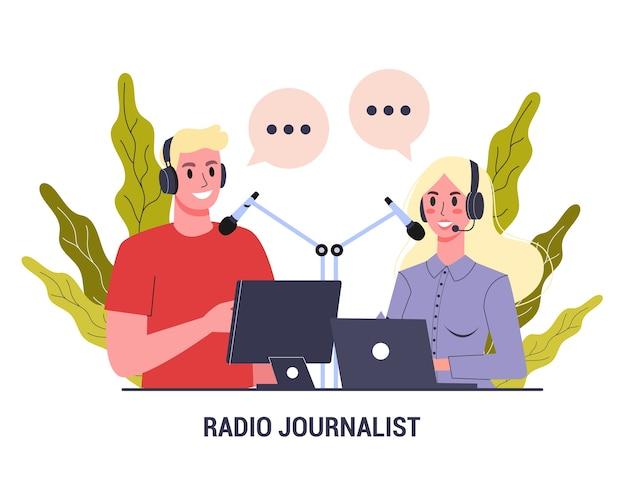 Concepto de periodista de radio. hombre y mujer sentados en auriculares.