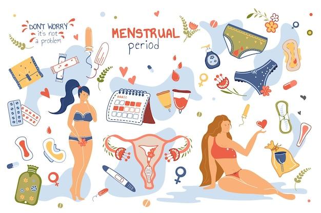 Concepto de período menstrual conjunto de elementos aislados